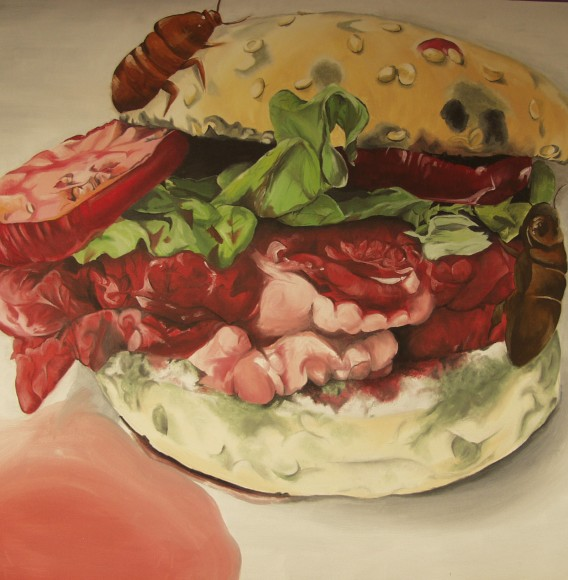 Jacqui Brown, Year 13, 'Burger', Acrylic on canvas, 100cm x 100 cm.