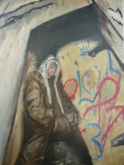 Joshua Curtis, Year 13, 'Man in Doorway', Oil on canvas, 150cm x 110cm
